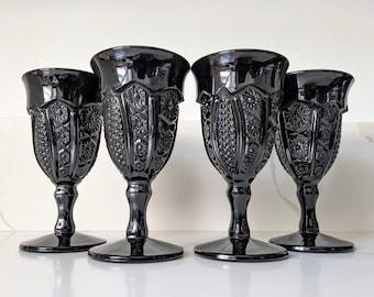 Indiana Glass Monarch Milk Glass / Black Wine Glasses / Black Wine Goblets / Black Milk Glass