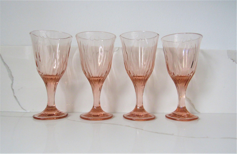 f109b015b5 Set Of Four Blush Pink Wine Glasses / Vintage Rose Pink   Etsy