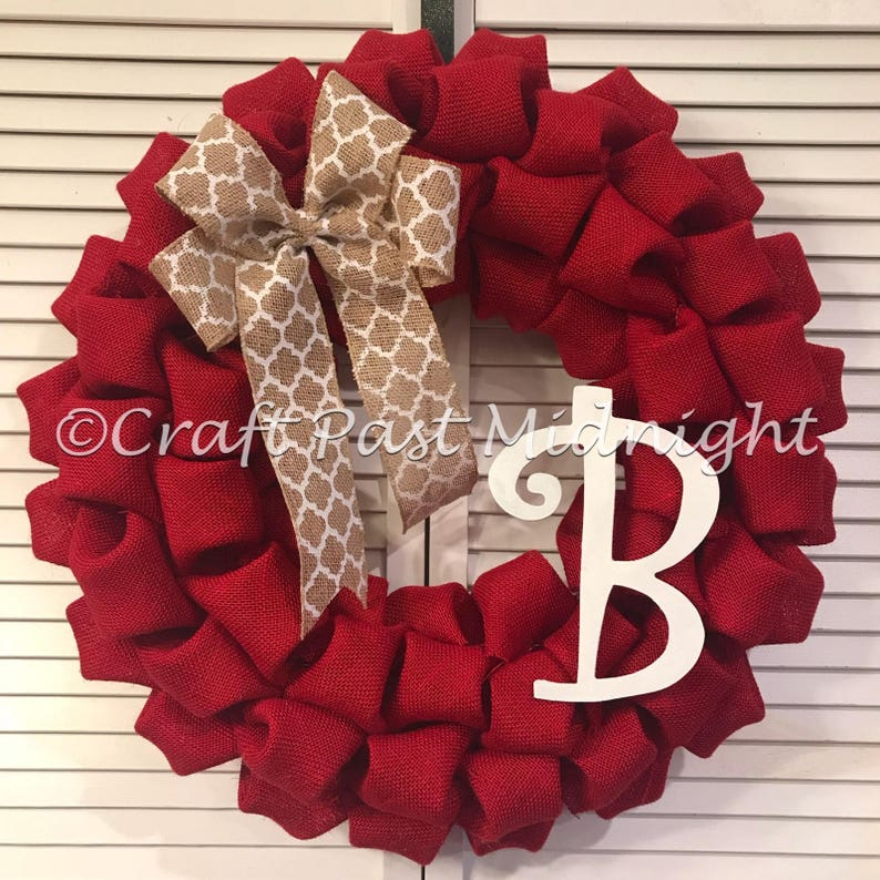 Red Burlap Wreath Letter B Monogram Red Door Wreath Etsy