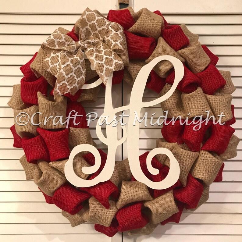 bc823af174969 Red Monogram Initial Burlap Wreath Red Front Door Decor