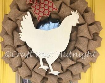 Chicken Hen Burlap Wreath - Farmhouse Decor