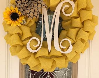 Yellow Sunflower Wreath - Burlap Sunflower Wreath - Mother's Day Gifts for Mom - Sunflower Wedding Decor - Summer Wreath - Letter M Initial