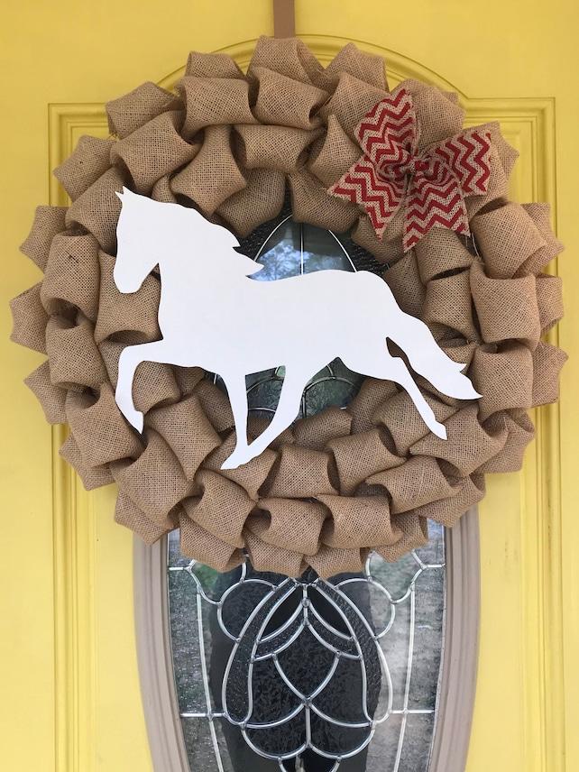 Walking Horse Burlap Wreath