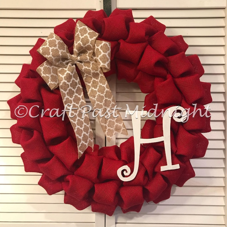 c43862eae4155 Red Burlap Wreath Letter H Monogram Red Door Wreath