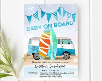 Baby on Board Decal 3.5 4.5 5.5 Surfing Mom Dad Mother Window Bumper Baby Shower