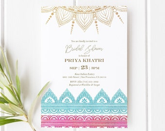 a33c674e521b9 Indian Bridal Shower, Sangeet or Mehndi Template   Indian Bollywood Theme    India   Instant Download PDF   Printable Invitation Template