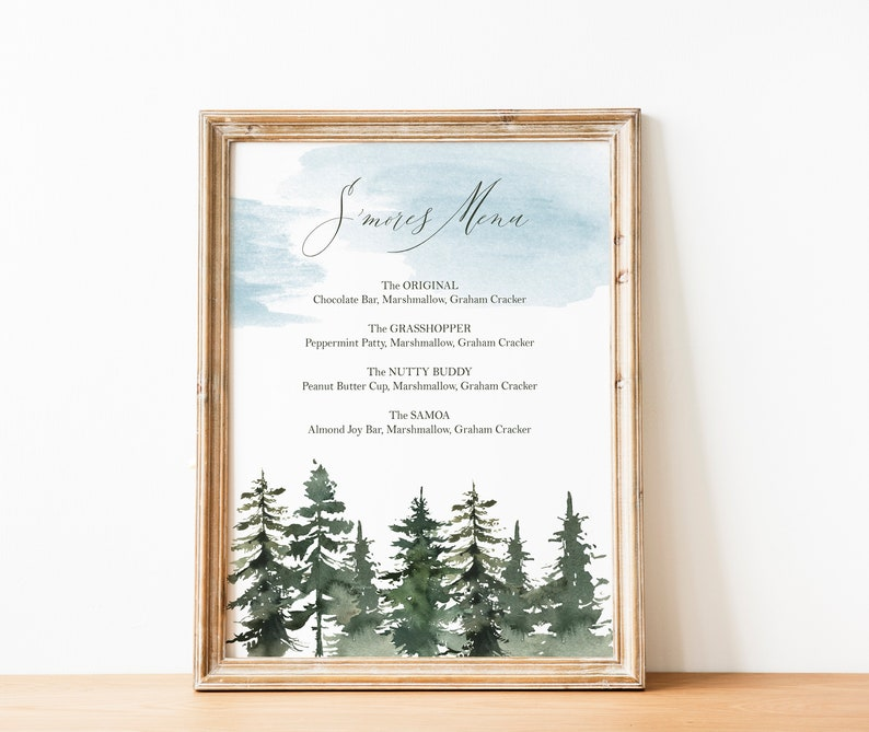 graphic regarding Printable Marshmallow Template identify Woods Editable Menu Template Woodland or Journey Occasion Prompt Down load Electronic Print Editable Menu 8x10 Printable PDF and JPG