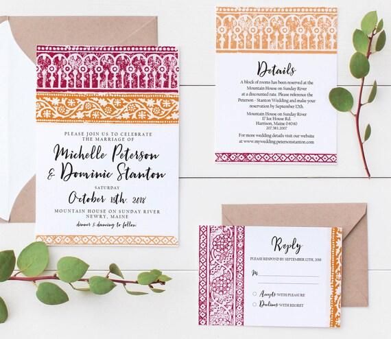 Batik Wedding Invitation Suite Editable Invitation Instant Download Pdf Custom Printable Wedding Invitation Batik Block Print
