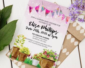 Garden baby shower etsy garden party baby shower invitation filmwisefo