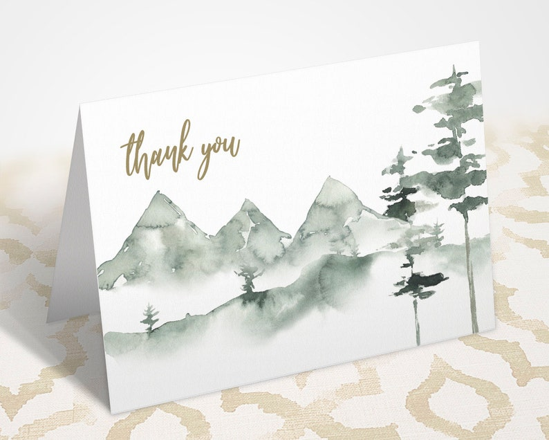 Printable Mountain Thank You Card Matching Thank You Card Winter Watercolor Notecard JPG /& PDF Instant Download Thank You Card