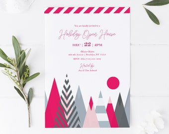 Holiday Event Invitation Template | Editable Printable Event Invitation | Modern Holiday Party, Birthday or Shower | 5x7 | Instant Download