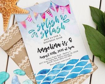 Splish Splash Party Invitation   Custom Pool or Beach Event Invite   Editable Event Invitation   Pool Party   Beach Event   Instant Download
