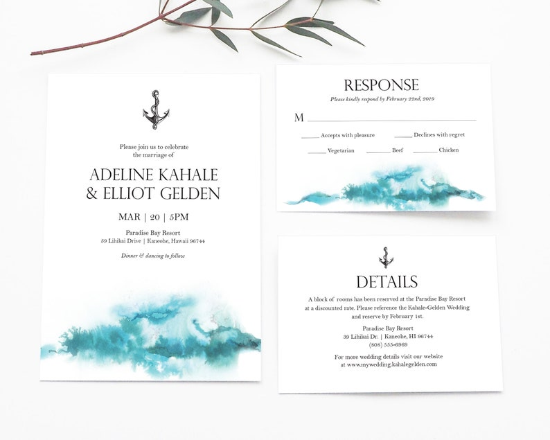 Modern Nautical Wedding Invitation Suite   Editable Template   Invitation,  RSVP and Details   Nautical or Beach Wedding   Instant Download