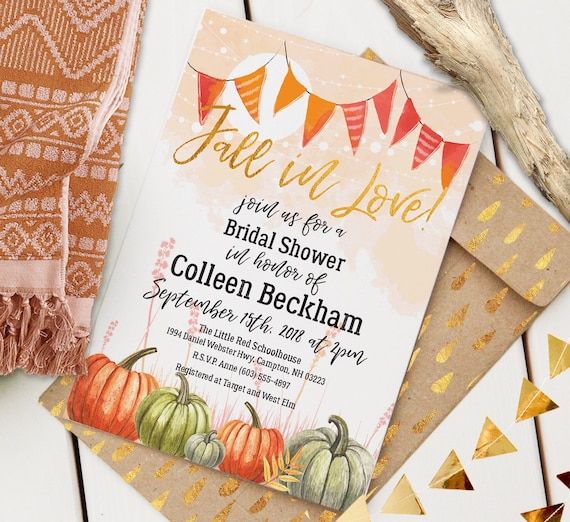 Fall In Love Engagement and Bridal Shower | Editable Printable Invitation | Autumn Watercolor | Instant Download PDF | Custom PDF Invite