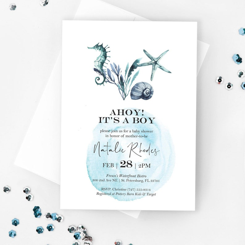 Under The Sea Baby Shower Invitation Template Editable Baby Etsy