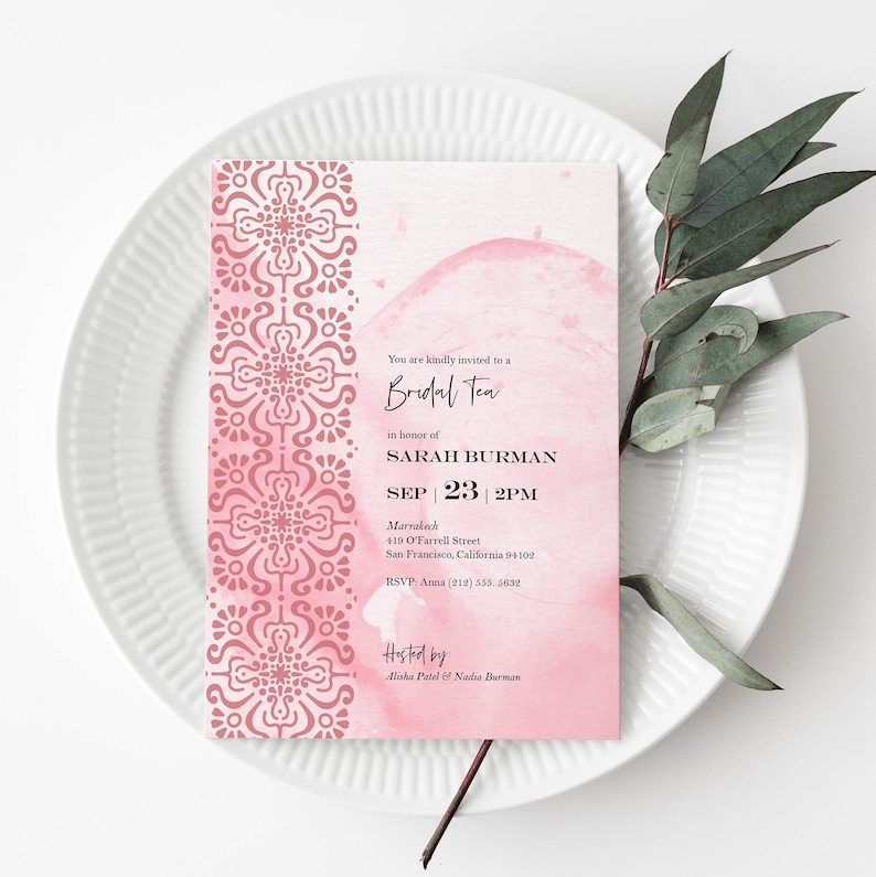 Moroccan-Themed Bridal Shower Invitation - Pink Watercolor