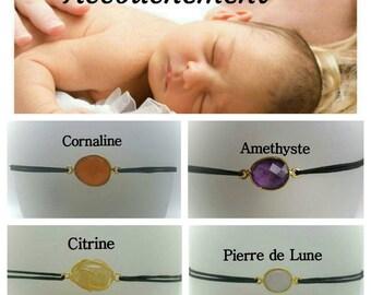 Bracelet pour favoriser l'accouchement : Pierre de Lune ou Améthyste ou Cornaline ou Citrine