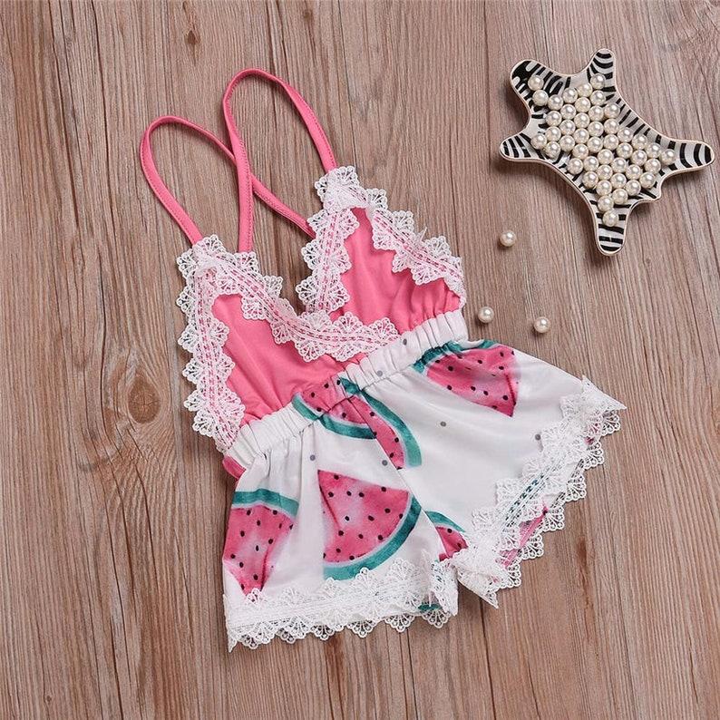 67489d8d8da Girl Romper Watermelon and lace