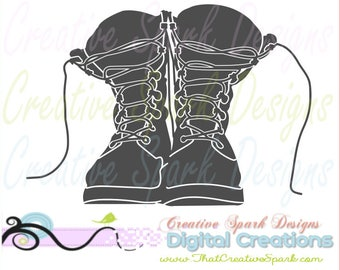 Combat Boots Silhouette Military, Army, Marines, Navy, Vets SVG, DXF, PNG Image for Die Cutting Machines, Decals, Wall Art, Iron-on, Cards