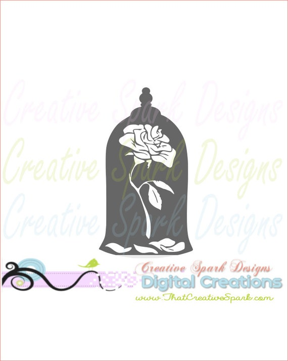 Custom Choose Your Size  Laser Cut Wooden Art Craft Supplies Wall Hanging Decor Wedding Nursery DCS0327 Bell Jar Rose Beauty and the Beast