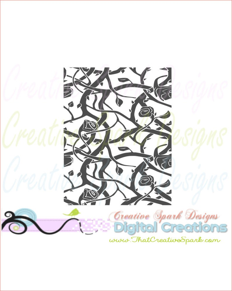 Rose and Thorns Background Image download SVG, DXF, PNG for die cutting  machines, graphic arts, cards, scrapbooks, decor, vinyl, iron-on