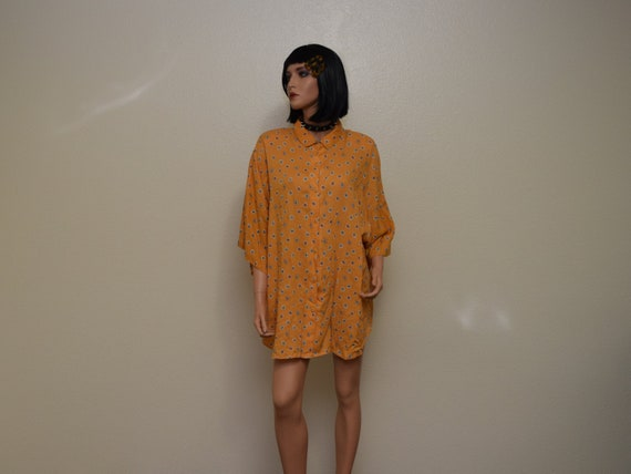 vintage orange blouse 90s 80s
