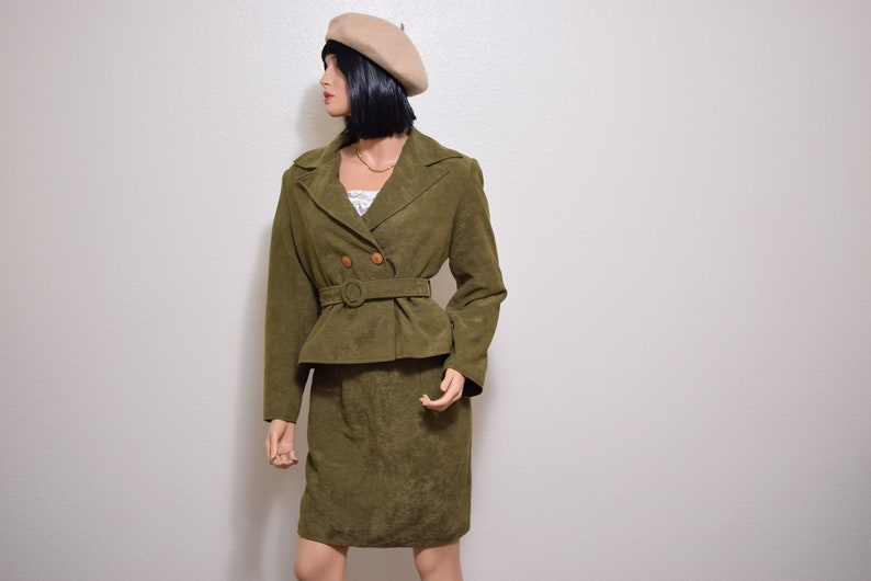 olive green suit two piece blazer skirt