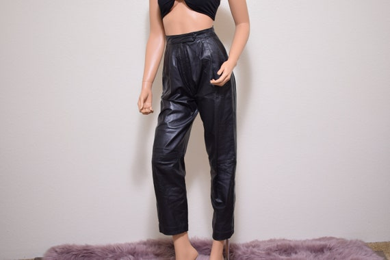 high waist leather pants vintage 80s 90s trousers