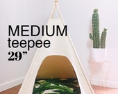 Medium Dog Teepee Tent-29 quot base - Choose - Natural, Gray, or Black Canvas - PICK YOUR PILLOW or Custom Order it