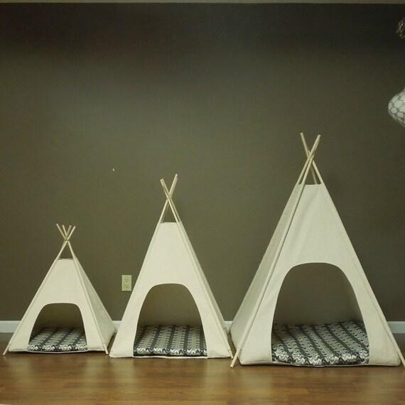 Large Dog Teepee Pet Tent 36 Base Natural Canvas Pick Etsy