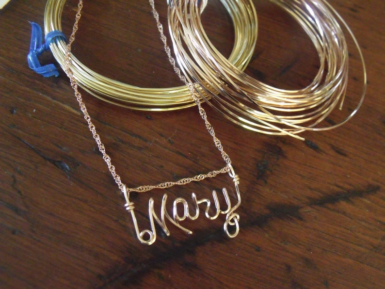 EVA  Wire Name necklace in Sterling silver Gold filled made in USA Teen gift, Great Gift this or ANY  Name ooak German silver