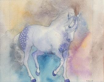 Original gouache painting, horse of a different color