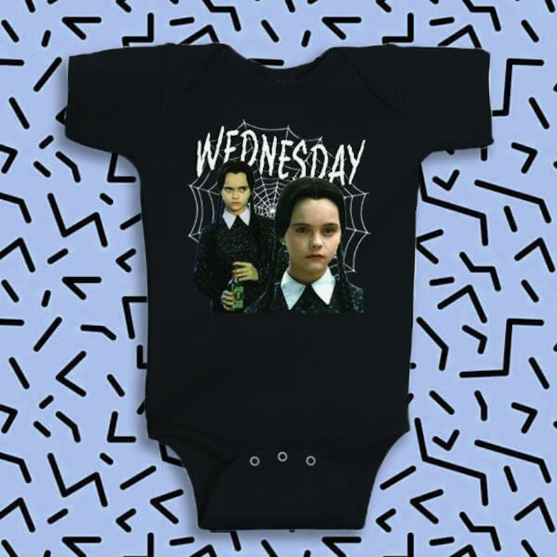 Wednesday Addams Inspired Toddler Onesie  90's  Retro image 0