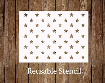 50 Stars Stencil American Flag USA And Stripes Outline Reusable Craft
