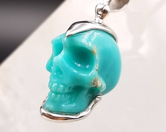 Crystal skull pendant etsy genuine turquoise skull sterling silver pendant energy protection campitos mine mexican unique hand carved crystal necklace aloadofball Choice Image