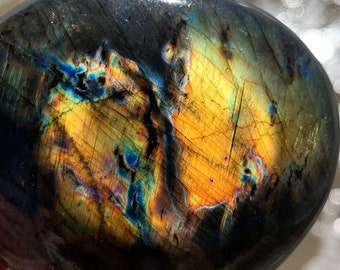 "Sunset Glow Labradorite Palm Stone 2.2"" - Rainbow Flash - Empath Protection Meditation Crystal"