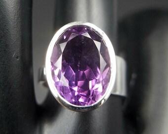 Amethyst Adjustable Ring Sterling Silver -  Large Violet Purple Natural Crystal Faceted Cut Genuine Gemstone Solitaire