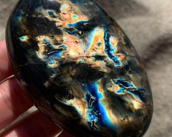 "Rainbow Labradorite Palm Stone 3"" - Empath Aura Protection Meditation Crystal"