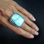 Labradorite Adjustable Sterling Silver Power Ring - Large Aqua Blue Flash Rectangle Cushion Cut - Empath Festival Boho Jewelry