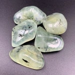 Prehnite with Epidote Tumbled Stone Crystal - Gemmy Apple Green - Heart Chakra Grid Stones