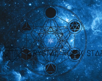 Platonic Solids Galaxy Crystal Grid Card - Space Starseed Sacred Geometry Art Print - Altar Cloth Decor - For Discreet Crystal Grids