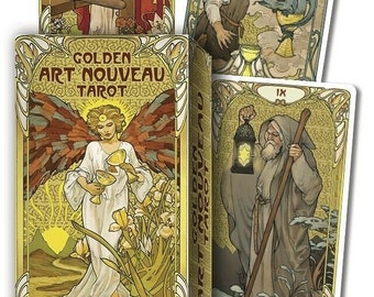 Golden Art Nouveau Tarot Deck Cards Set Fantasy Art Oracle Card Booklet divination magick magic pagan wicca wiccan witch craft witchcraft