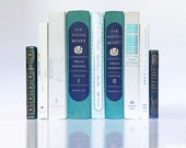 Classic Decorative Book Set, Dante 39 s Inferno, Alhambra, Sir Walter Scott and a Rare Savannah Cookbook in White, Blue and Sweet Grass Green