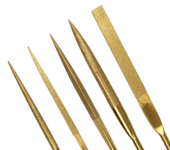3x140mm 5pc Round Diamond Needle File Set 5 Grit Ratings