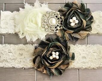 Brown Camo 1 wedding bridal prom police hunting garter double gun charm handmade