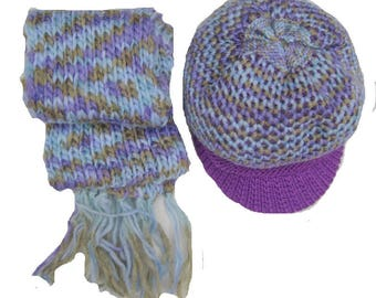 50f6883ba51 Muffler and cap  multicolored muffler and cap  purple and blue set  2pcs.  Gift ideas.