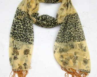cream colored scarf/ net scarf/ sequin scarf / fashion scarf/ trendy scarf/ gift scarf / gift ideas.