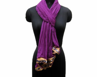 Purple scarf/ chiffon scarf/ turkish scarf/ scarf/ fashion scarf/ lace scarf / plain scarf/ gift scarf / gift ideas.
