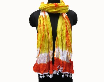 Tie and dye scarf/ yellow scarf/ multicolored  scarf/ lace scarf/ cotton scarf/ fashion  scarf/ gift scarf / gift ideas.