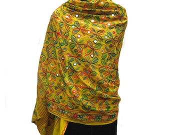 Embroidered scarf/ boho scarf/ multicolored scarf/ yellow scarf/ cotton scarf/ large scarf gift scarf / gift ideas.